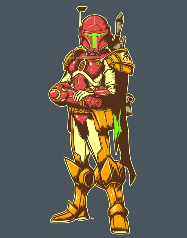 Samus Fett. Probably one of the coolest, most appropriate mash-ups EVER. Art by Ninjaink.
