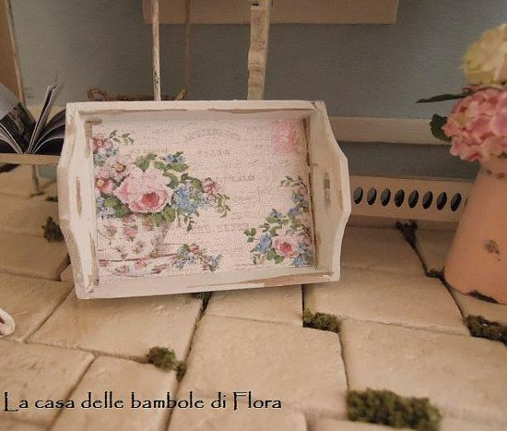 Light blue shabby chic tray - 1/12 dolls house dollhouse miniature