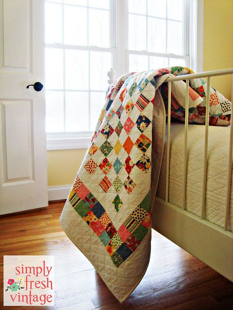 Postage Stamp Quilt by Simply Fresh Vintage simple but pretty