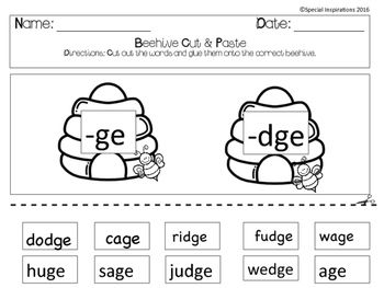 ge or dge phonics literacy center beehive spring themed phonics literacy and game boards. Black Bedroom Furniture Sets. Home Design Ideas