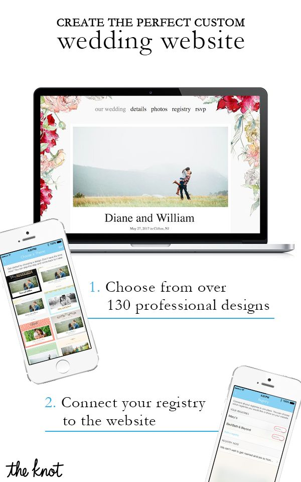 Build your own free wedding website with a customized look and feel. At the Knot, we give you all the tools you need to make your wedding site your own! Choose from a selection of beautiful designs and colors, integrate your registry and give your guests all the important details. Oh, did we mention it's free?