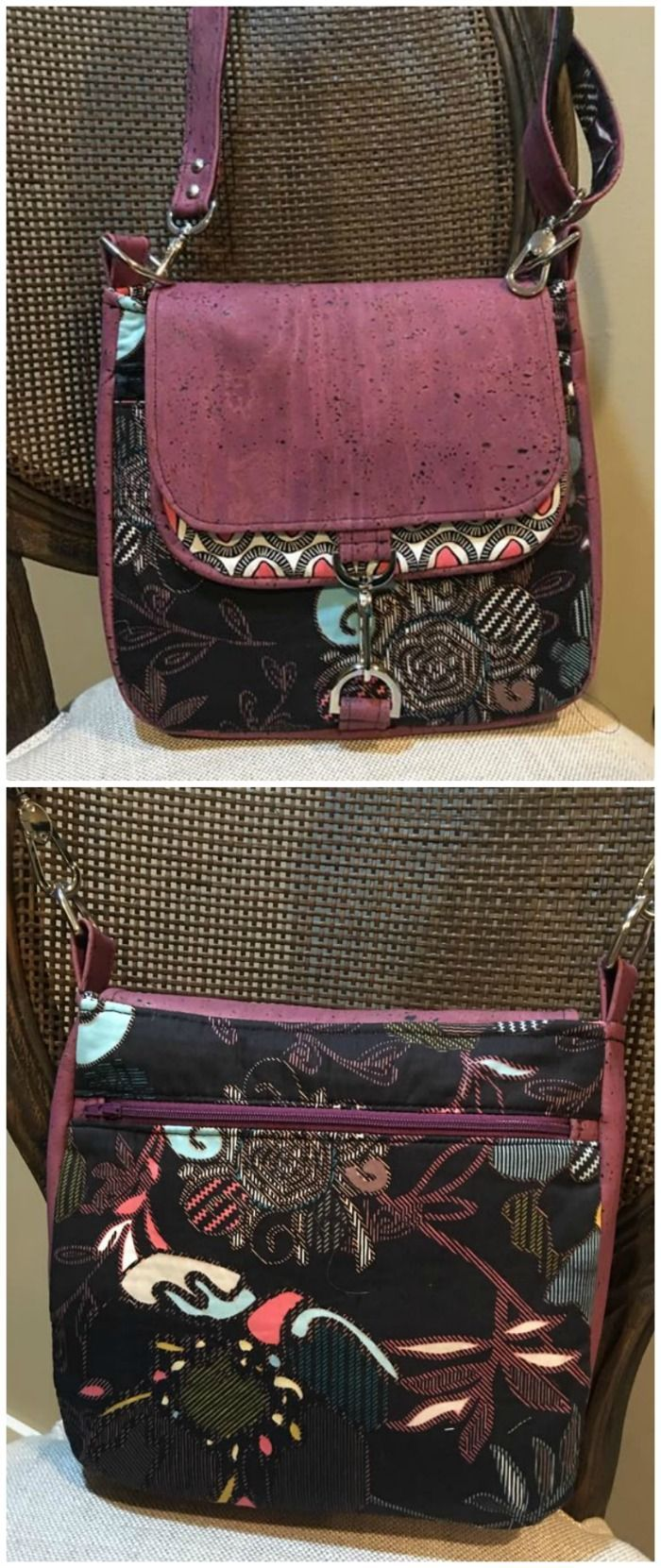 Sarah Satchel sewing pattern. For quilting cottons, vinyl or leather, home decor fabrics - this versatile bag sewing pattern works well with them all!