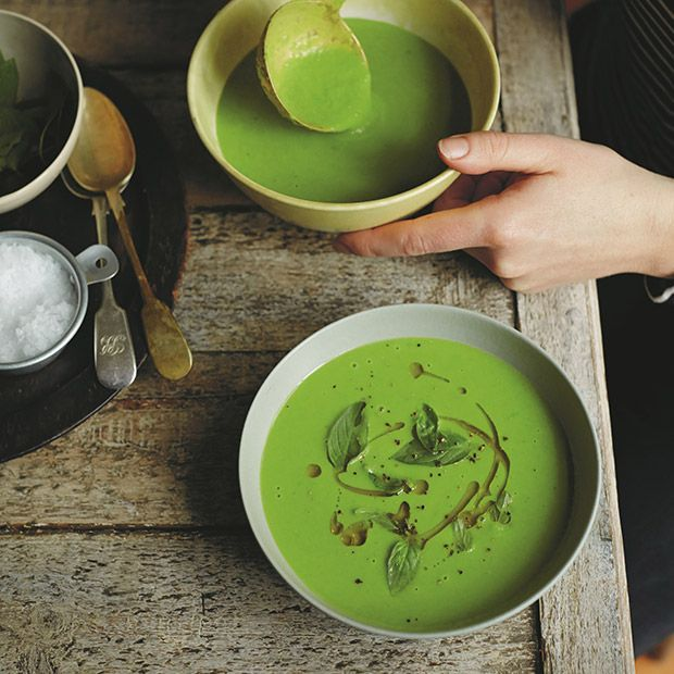 Green Pea And Coconut Soup | Chef, writer and food stylist Anna Jones shares a new collection of over 150 inspiring vegetable-centric recipes in her second book, A Modern Way to Cook.