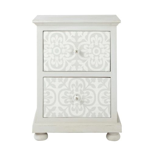 Table de chevet avec tiroirs en manguier blanc l 45 cm - Table de chevet gifi ...