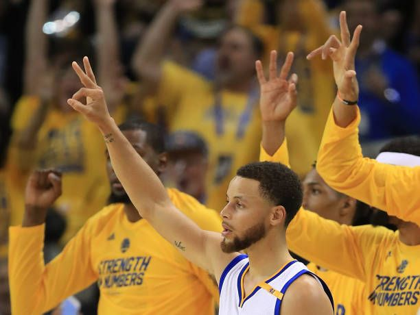 Stephen Curry of the Golden State Warriors reacts against the Utah Jazz during Game Two of the NBA Western Conference SemiFinals at ORACLE Arena on...
