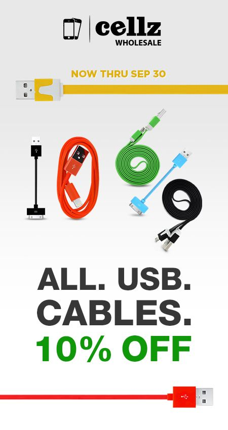 During September you have 10% OFF Discount on all USB Charging Data Cables! Charge and Save! #cellz #usb #discount #cables #september