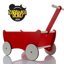 Drewniany wózek do ciągnięcia z dyszlem -kolory, zabawki - klocki i zabawki drewniane