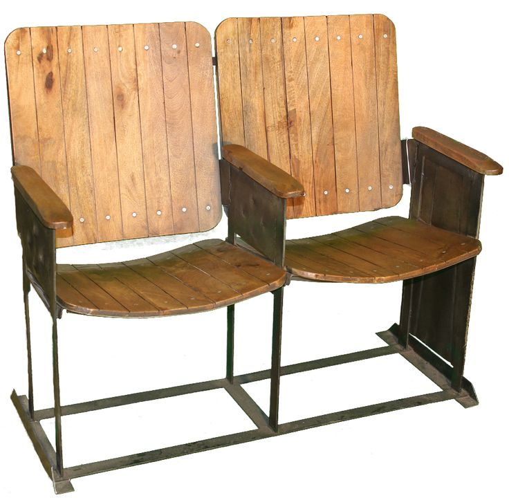 These Oak Theatre Chairs With A Metal Frame Are