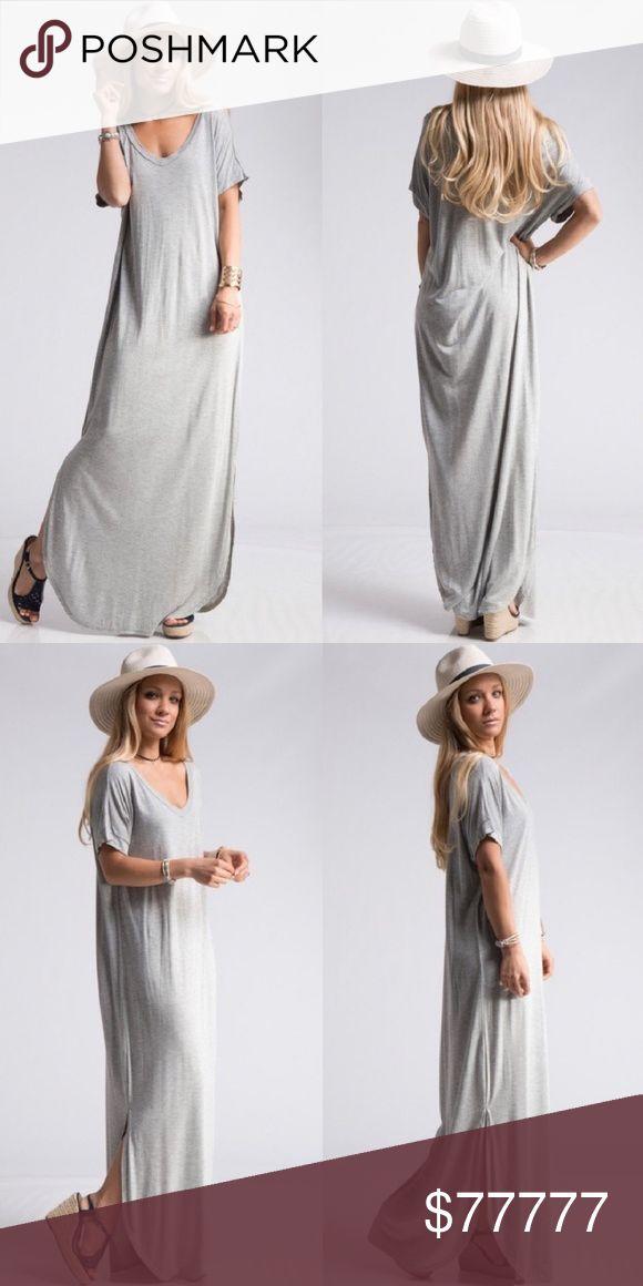 COMING SOON! Heather Grey Maxi Dress! Selling a Short Dolman Sleeve Curved Hem Maxi Dress! Dresses Maxi