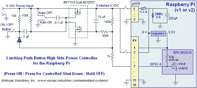Circuit schematic diagram for a latching MOSFET power switch toggle circuit for the Raspberry Pi