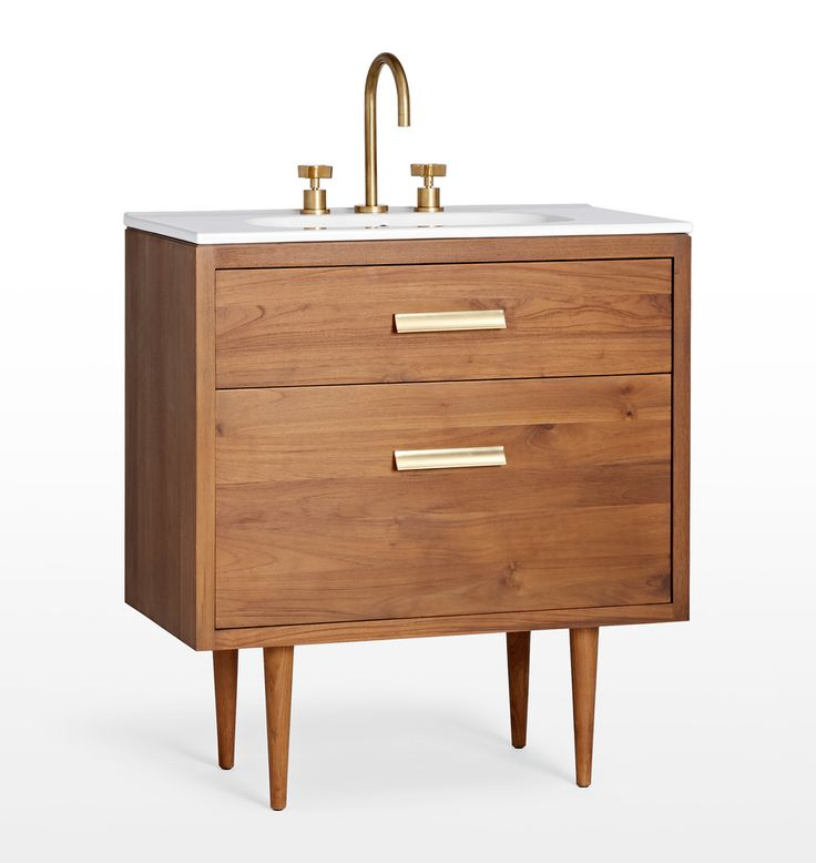 "Marquam Teak Single Vanity 8"" Spread Sink with Aged Brass pulls D2674"