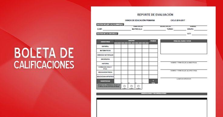 Formato de Boleta de calificaciones – Reporte de evaluación