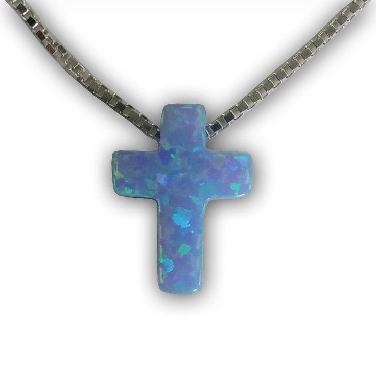 Light Blue #opal #Cross Pendant 18 inch sterling silver chain by enjewelrystore on Etsy