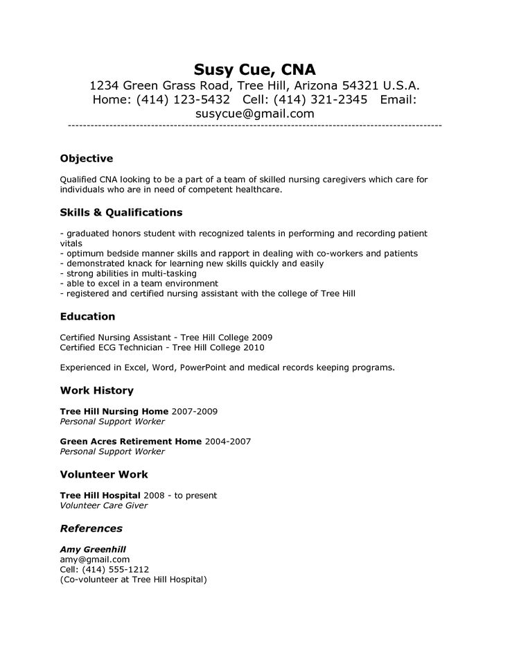 resume sample  cna job duties resume  resume sample
