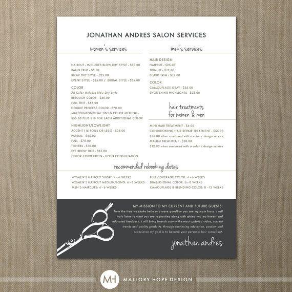 "Modern Hair Stylist or Barber Service Menu / Salon Price List 5"" x 7"" Flat Card - Digital Design File"
