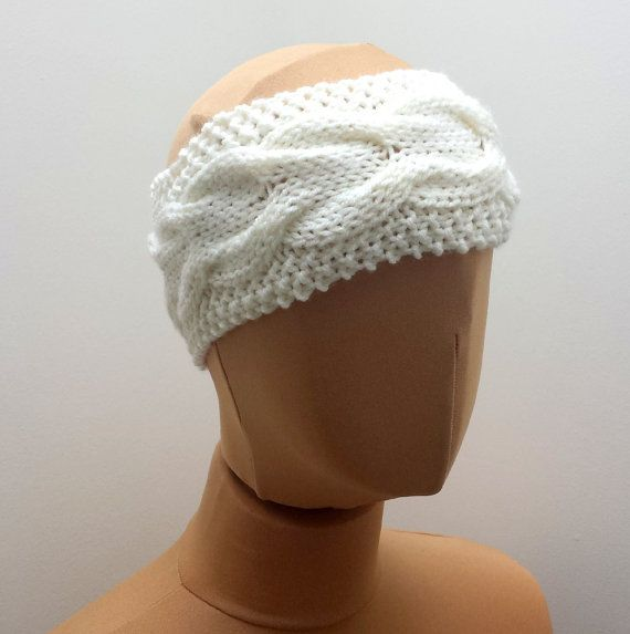 Off-White Cable Headband  Handknit Ear Warmer by SophiesKnitStuff