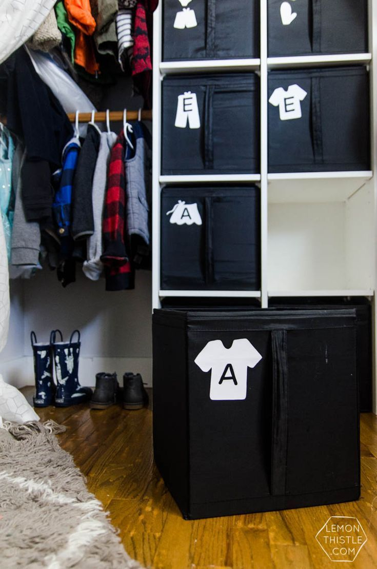 Ordinaire DIY Closet Organization  Ikea Storage Bin Labels... What A Great Storage  Solution! I Love How It Hides The Closet Clutter And Kids Can Visually See  Where To ...