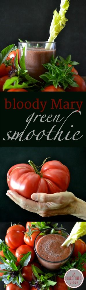 Healthy, non-alcoholic version of a Bloody Mary + #greensmoothie! Get the #vegan #recipe at An Unrefined #Vegan.