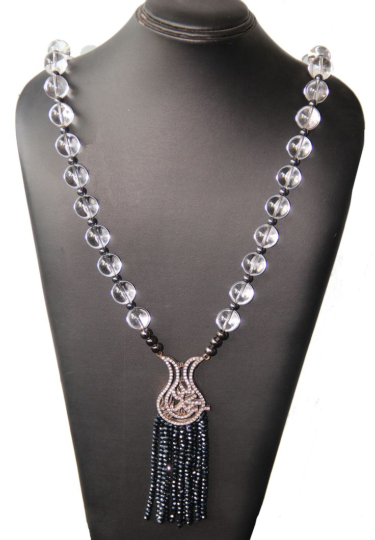 PEZZO UNICO - Boulle in cristallo di rocca, pendente in argento con strass, boulle in ematite, cipolline in vetro