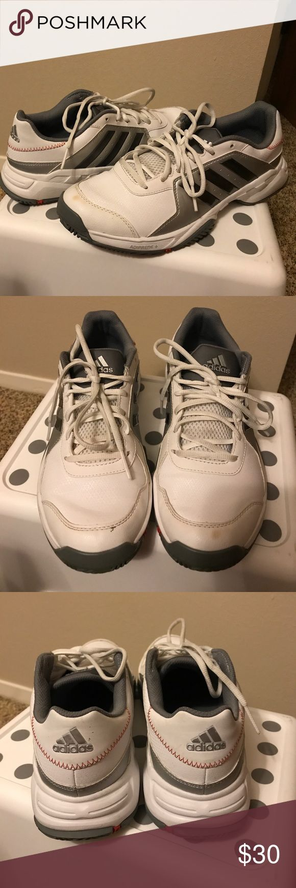 Adidas Adiprene+. Men #9 Adidas Adiprene+ for men #9. White with black/gray strips. Left one with a little tiny spot. Barely used. adidas Shoes Athletic Shoes
