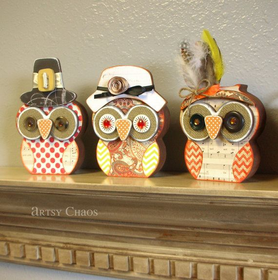 Unfinished Wood Thanksgiving OWLS Pilgrim & Indian by artsychaos