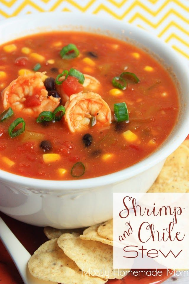 Shrimp & Chile Stew - Filled with corn, black beans, shrimp, and spicy chiles - this stew is perfect for a chilly night or your game day festivities!