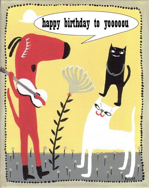 Dog Plays Guitar and Sings Happy Birthday . Fun Art Card
