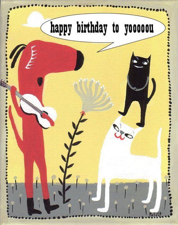 Dog Plays Guitar and Sings Happy Birthday . Fun Art Card