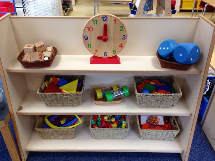Maths area. Love that it's organized in different boxes.
