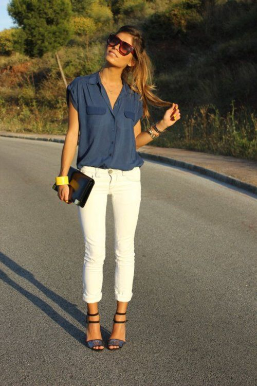 white skinny jeans... so perfect for summerWhite Skinny Jeans, Fashion, Summer Outfit, Style, Blue, White Pants, White Skinnies, White Jeans, Whitepants