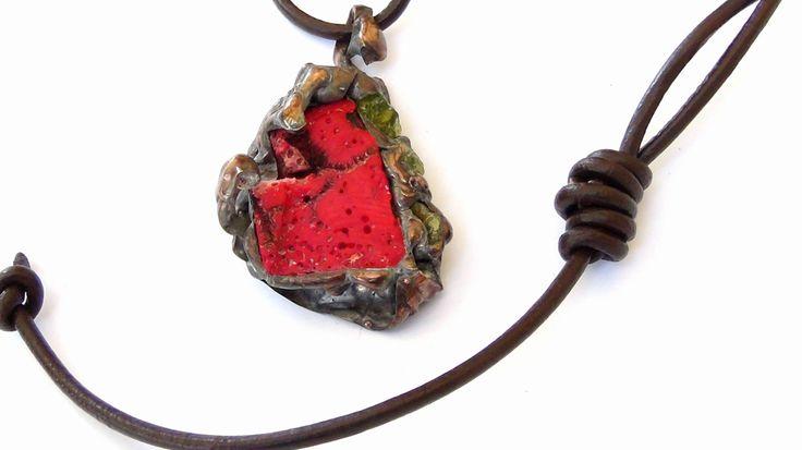 Coral bamboo  Necklace Tiffany technique Copper Bronze leather