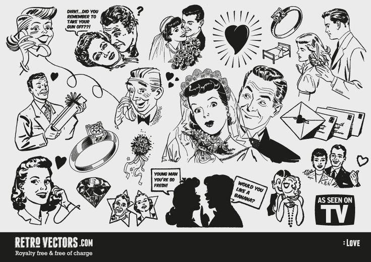 50's illust - Google 検索 | アンティーク画像、映画がテーマの結婚式、アメリカンイラスト