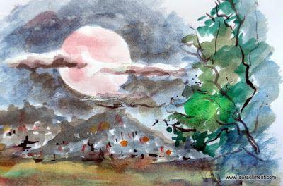Full moon. Solsticio de verano 2016. (Watercolor. Acuarela)