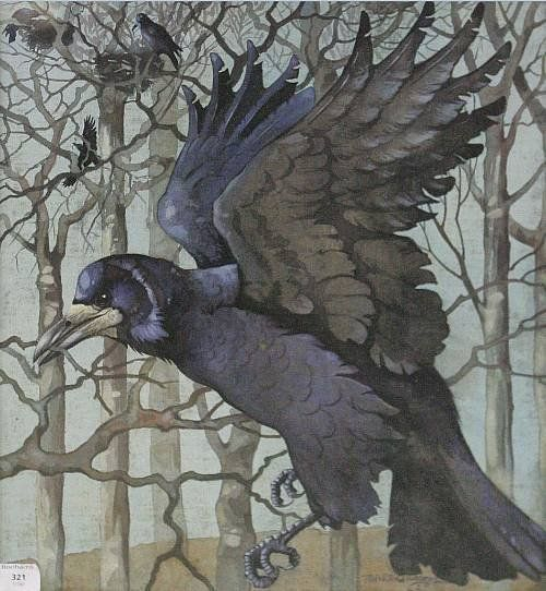 """CAW-Some! what's with the """"yellow"""" around the beak though.....?? Ralston Gudgeon (20thc) Crows signed, gouache on linen"""