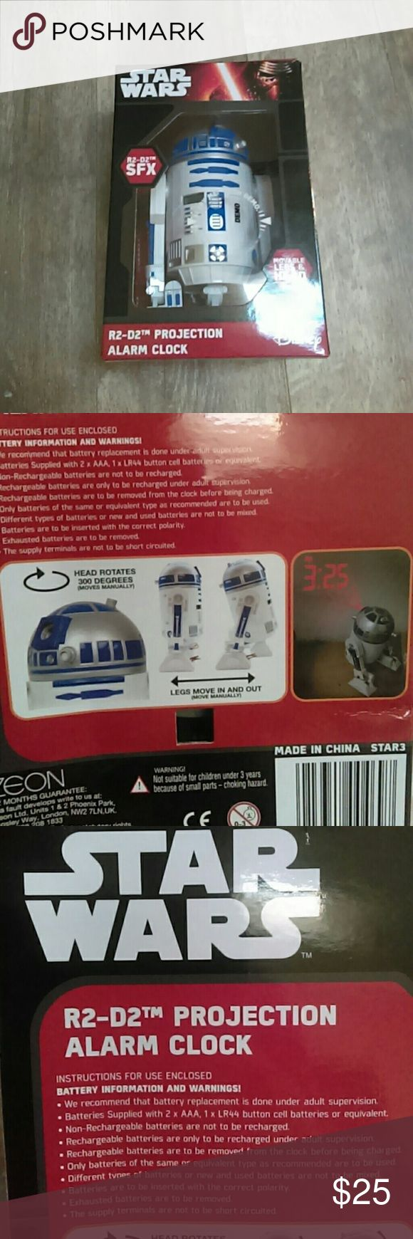 NWT R2-D2 Projection Alarm Clock Brand new in box.  R2-D2 alarm clock. It projects time on to the wall. Please feel free to leave any question or concerns below! If you don't like the price please don't hesitate to send me an offer! ?? Star Wars Other
