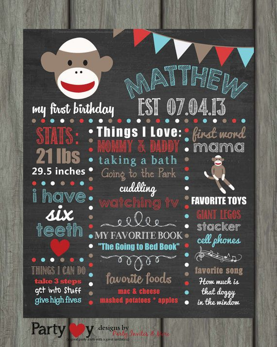First Birthday Chalkboard Poster First by PartyInvitesAndMore