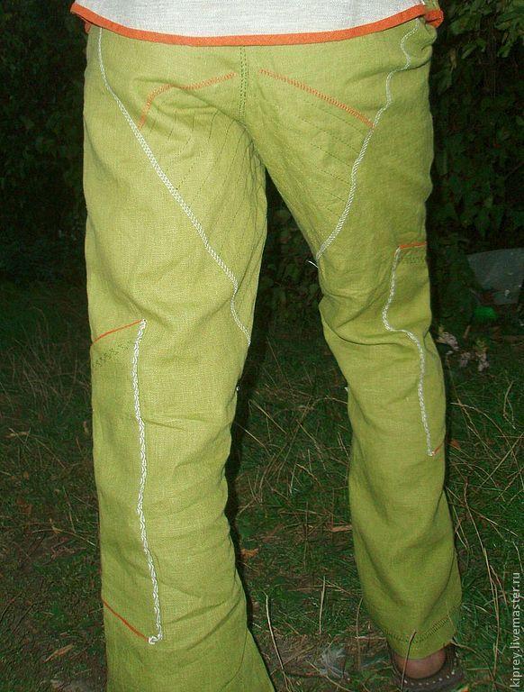 """Купить Брюки льняные мужские """"Жива"""" - оливковый, орнамент, брюки, штаны, брюки льняные"""