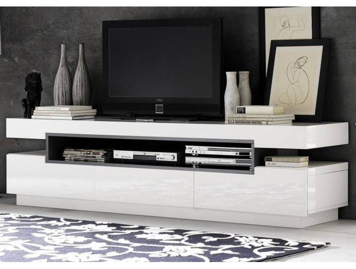 Tv Lowboard In Hochglanz Weiss Lack 200 Cm Tv Unit Design Minimalist Tv Unit Design With Wardrobe In 2020 White Tv Unit Tv Stand Designs High Gloss Tv Unit