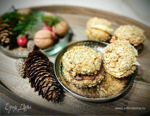 Кофейное печенье с грецким орехом и нутеллой. Ингредиенты: мука цельнозерновая, пшеничная мука, разрыхлитель