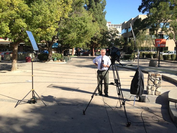 @ABC30 Action News reporter Gene Haagenson getting ready for a liveshot from the Fulton Mall in downtown #Fresno.  Gene was reporting on a developer who has big plans for the old JC Penney building.  Click on the photo for more on this story.