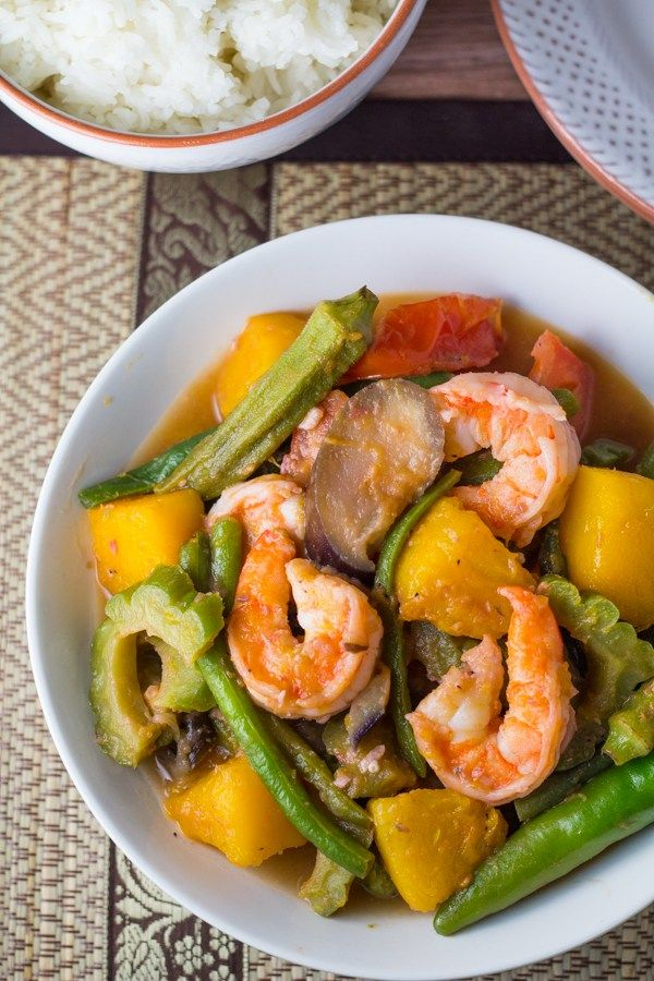 Pinakbet is a popular dish to serve at any Filipino gathering. It traditionally consists of pork and vegetables, cooked and flavored with shrimp paste.