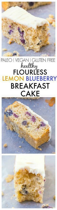 Healthy Flourless Lemon and Blueberry Breakfast Cake- Light and fluffy on the inside, tender on the outside with a hint of citrus; have a guilt free dessert for breakfast- NO butter, oil, flour or sugar! {vegan, gluten free, paleo recipe}- http://thebigma http://healthyquickly.com/5-essential-healthy-breakfast-tips-for-easy-fat-burning/