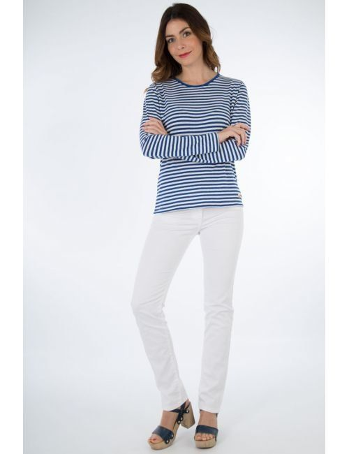 aaa568ee01 Long sleeve Breton striped shirt - Héritage - Cotton and linen in 2019 |  Clothes | Breton stripe shirt, White jeans, Shirts