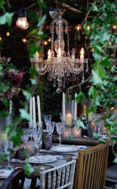 .Love the chandelier outside