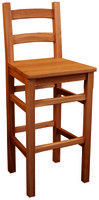 Oak Crofter Solid Seat High Back Bar Stool