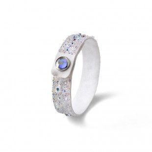 Oliver Weber Women white small disco bracelet glitter alcantara with Swarovski Crystals