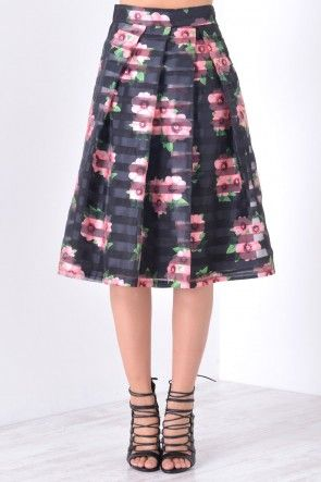 Blair Mesh Floral Skirt in Black
