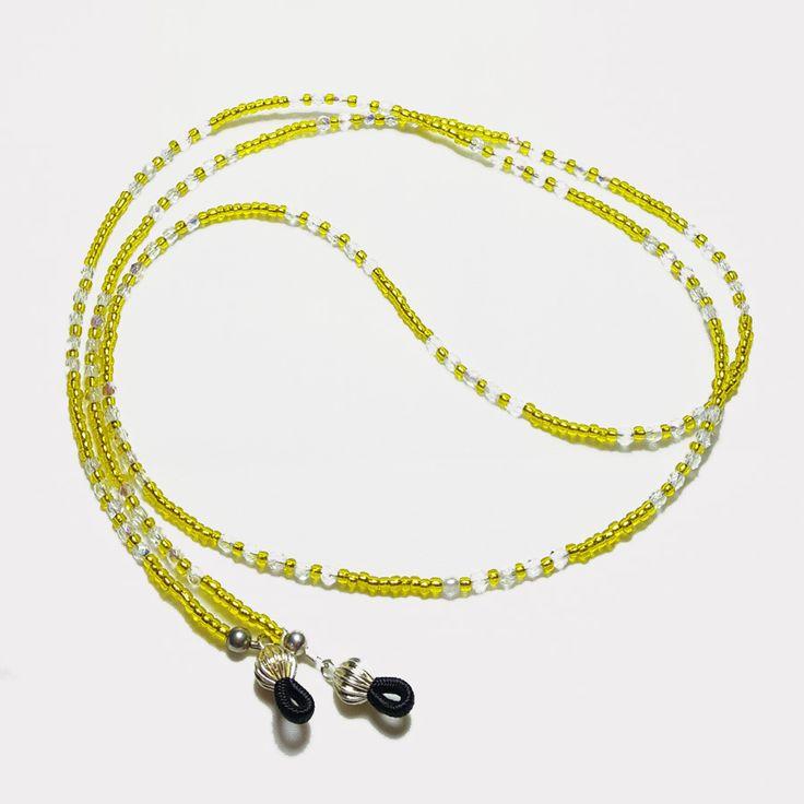 Lemon Yellow Crystal Beaded Eyeglass Chain - Maureen McCullough Designs
