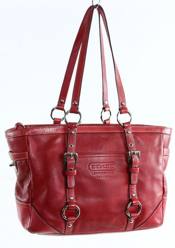 COACH # F11524 Genuine buttery soft Red Leather lunch gallery Shopper tote handbag w/ silver studded rivets & buckles