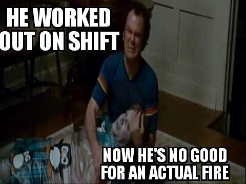 #FRIDAYFUNNIES # Because every department has that guy(s) that think you're training to hard #killingit in the engine bay.  Once you understand and start to develop capacity and recovery rates you can go out there and kill yourself hop in the rig still sweating and huffing and still outwork their #expectations  #trainharddowork  ________________________________________  Want to be featured? Show us how you train hard and do work   Use #555fitness in your post.  You can learn more about us…